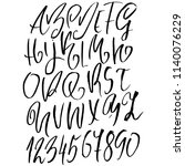 hand drawn dry brush lettering. ... | Shutterstock .eps vector #1140076229