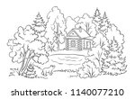 small log house in forest near... | Shutterstock .eps vector #1140077210