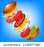 fast food background colored 3d ...   Shutterstock .eps vector #1140077480