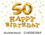 raster copy happy birthday 50th ... | Shutterstock . vector #1140081869