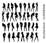 a lot of vector silhouettes of... | Shutterstock .eps vector #114008368