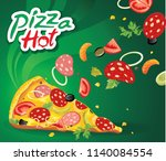 delicious fast food pizza...   Shutterstock .eps vector #1140084554
