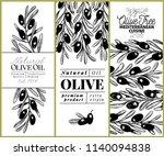 olive tree banner set. vector... | Shutterstock .eps vector #1140094838