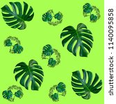 green palm leaves pattern for... | Shutterstock . vector #1140095858