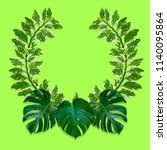 green palm leaves pattern for... | Shutterstock . vector #1140095864