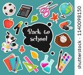 school stickers collection.... | Shutterstock .eps vector #1140098150