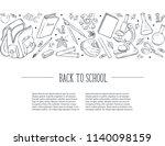 hand drawn school objects in... | Shutterstock .eps vector #1140098159