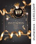 vip invitation card with curly... | Shutterstock .eps vector #1140112649