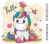 cute cartoon unicorn with... | Shutterstock .eps vector #1140120113