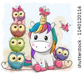cute cartoon unicorn and owls... | Shutterstock .eps vector #1140120116