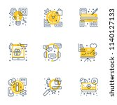 set of 9 flat line business... | Shutterstock .eps vector #1140127133