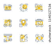 set of 9 flat line business... | Shutterstock .eps vector #1140127136