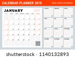 calendar planner for 2019 year. ... | Shutterstock .eps vector #1140132893