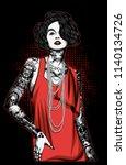 women with tattoo | Shutterstock .eps vector #1140134726