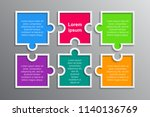 six pieces puzzle squares... | Shutterstock .eps vector #1140136769