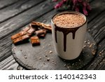 Cup Of Hot Chocolate On Slate...