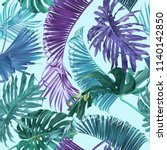 vector tropical leaves seamless ... | Shutterstock .eps vector #1140142850