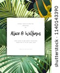 floral wedding invitation with... | Shutterstock .eps vector #1140143390