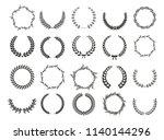 set of laurel wreaths. heraldic ... | Shutterstock .eps vector #1140144296