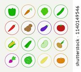 vector vegetable icon set with... | Shutterstock .eps vector #1140149546