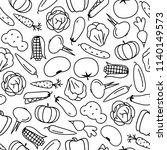 vector vegetable pattern line... | Shutterstock .eps vector #1140149573