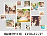 collage of happy children... | Shutterstock . vector #1140151019