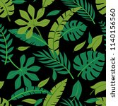 tropical vector green leaves... | Shutterstock .eps vector #1140156560