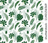 tropical vector green leaves... | Shutterstock .eps vector #1140156569