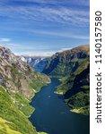 scandinavia nature fjord and... | Shutterstock . vector #1140157580