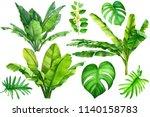 jungle botanical watercolor... | Shutterstock . vector #1140158783