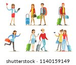 flat vector set of people with... | Shutterstock .eps vector #1140159149