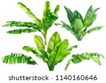 jungle botanical watercolor... | Shutterstock . vector #1140160646