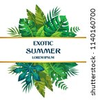 trendy summer tropical leaves... | Shutterstock .eps vector #1140160700