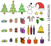 collection of christmas items.... | Shutterstock .eps vector #114016150