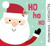 christmas card with cute santa... | Shutterstock .eps vector #1140161756