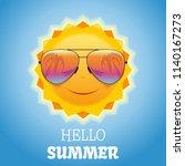 cute smiling sun in sunglasses. ... | Shutterstock .eps vector #1140167273