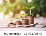 money dollar coin stack growing ... | Shutterstock . vector #1140170540
