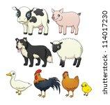 a set of eight cartoon farm... | Shutterstock . vector #114017230