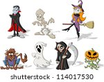 funny cartoon classic halloween ... | Shutterstock .eps vector #114017530
