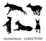 set of doberman pinscher dog... | Shutterstock .eps vector #1140175700