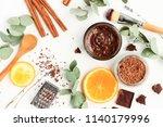 chocolate skincare mask.... | Shutterstock . vector #1140179996