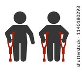 injured man with crutches icon... | Shutterstock .eps vector #1140180293