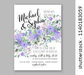 purple floral wedding... | Shutterstock .eps vector #1140183059