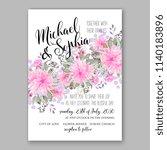 blush pink chrysanthemum asters ... | Shutterstock .eps vector #1140183896