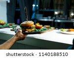 fresh delicious hamburger and... | Shutterstock . vector #1140188510