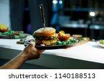 fresh delicious hamburger and... | Shutterstock . vector #1140188513