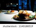 fresh delicious hamburger and... | Shutterstock . vector #1140188519