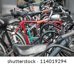 Many Different Bikes Parked