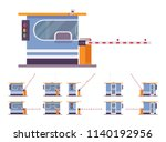 toll booth with barrier. gate... | Shutterstock .eps vector #1140192956