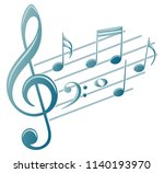 symbol with music notes.  | Shutterstock . vector #1140193970